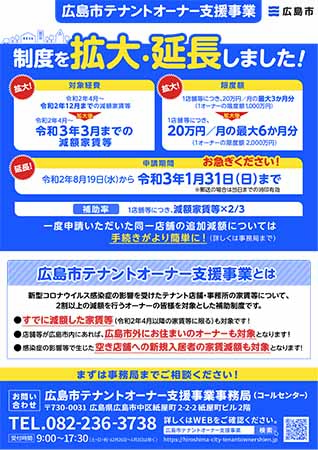 広島市~家賃を減額する「大家さん」への支援
